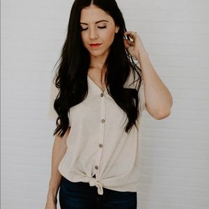 Waffle Knit Button Down Top - Oatmeal